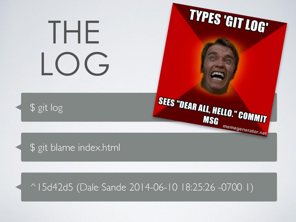 $ git log $ git blame index.html ^15d42d5 (Dale...