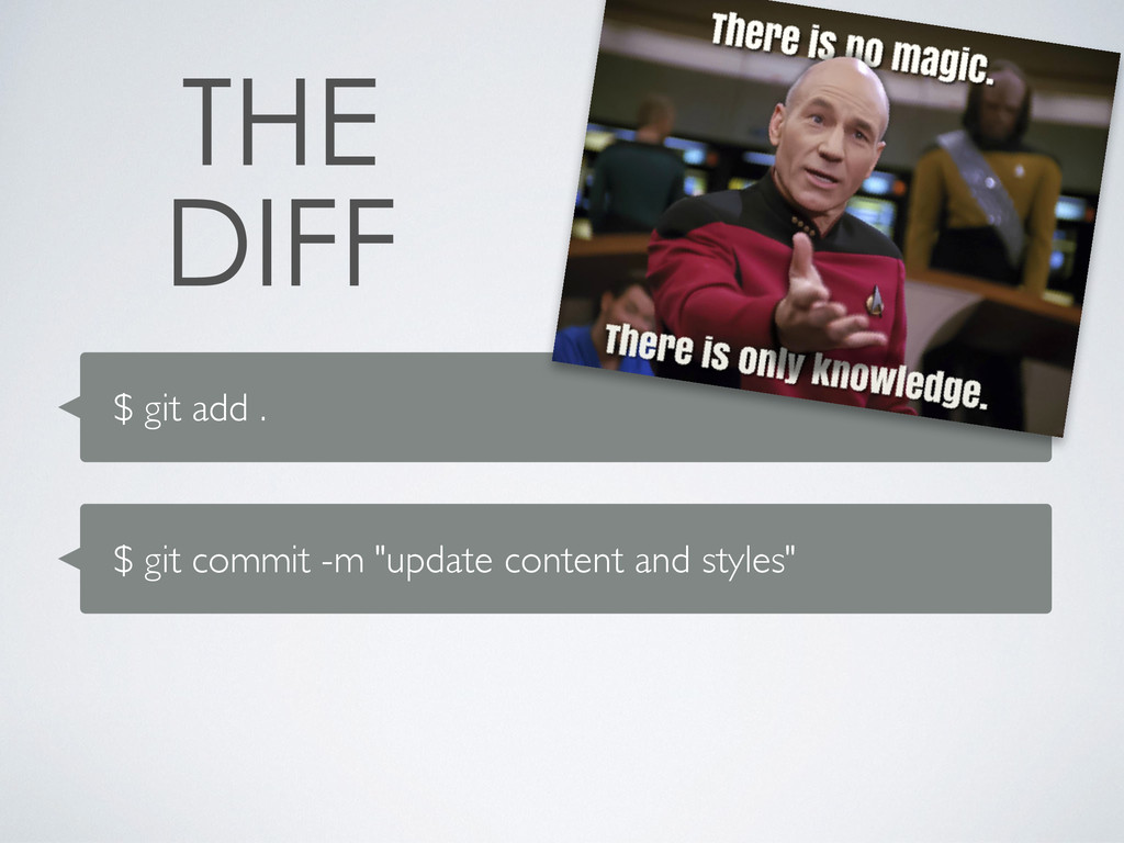 """$ git add . $ git commit -m """"update content and..."""