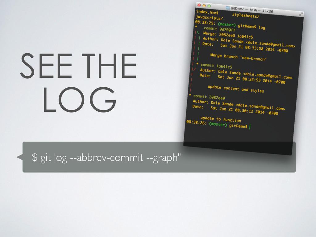 """$ git log --abbrev-commit --graph"""""""