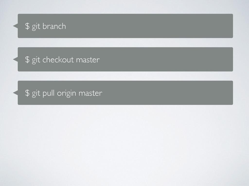 $ git branch $ git checkout master $ git pull o...