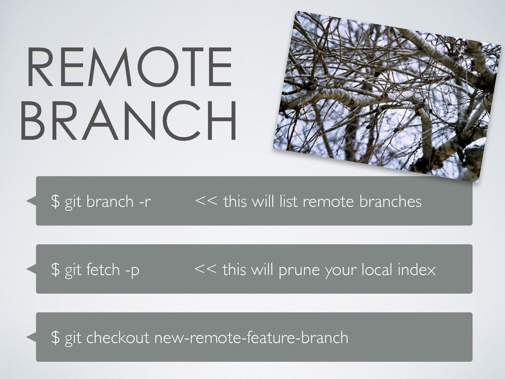 $ git branch -r << this will list remote branch...