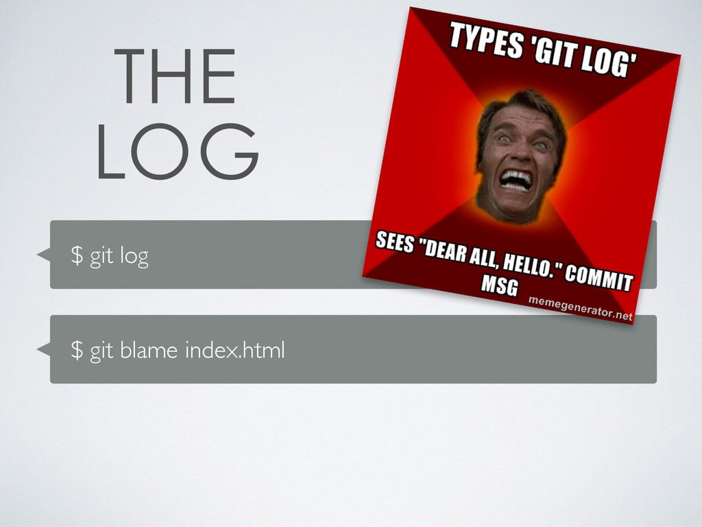 $ git log $ git blame index.html
