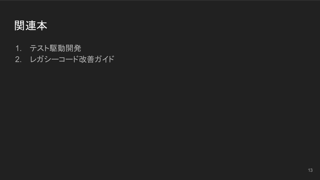 関連本 1. テスト駆動開発 2. レガシーコード改善ガイド 13