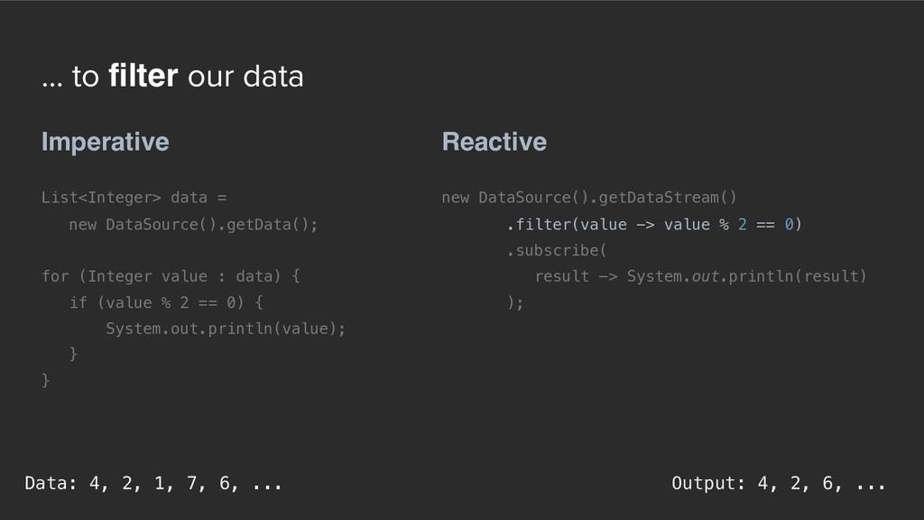 ... to filter our data Reactive new DataSource(...