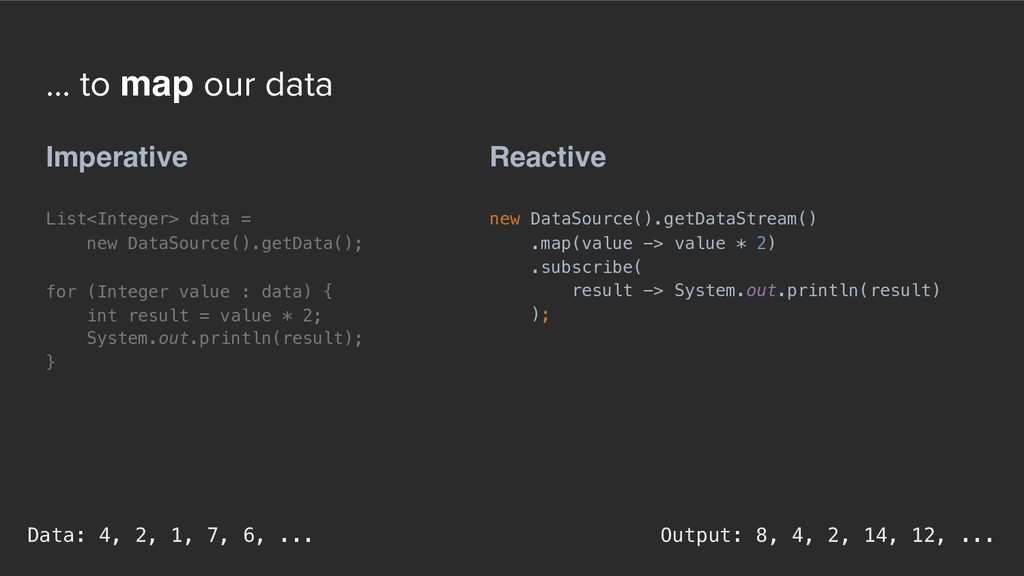 ... to map our data Reactive new DataSource().g...