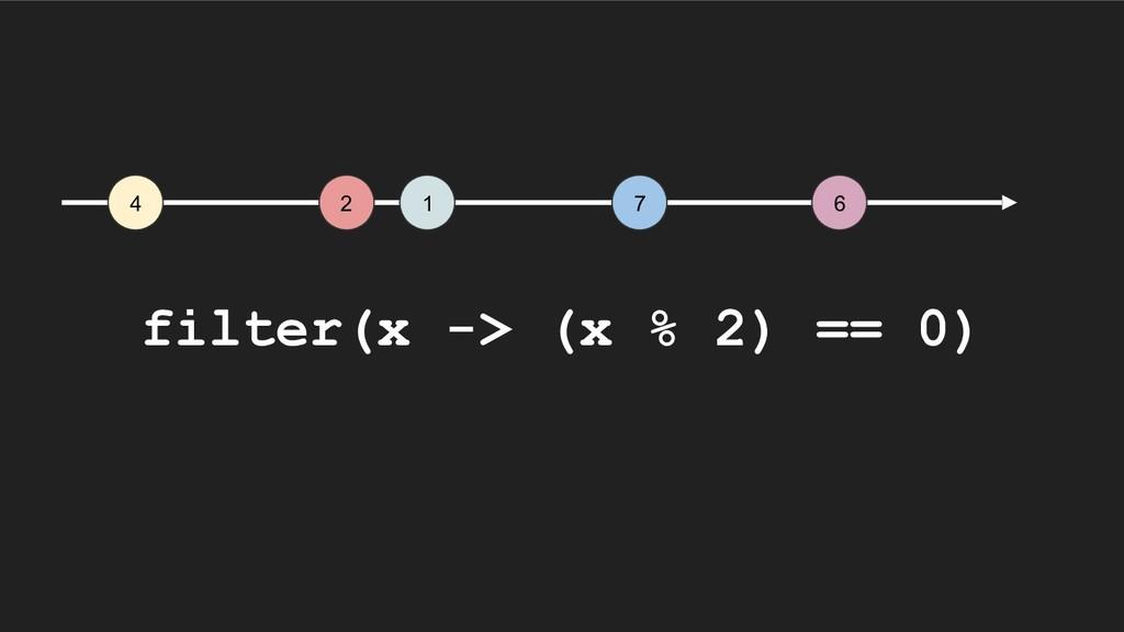 4 2 1 7 6 filter(x -> (x % 2) == 0)
