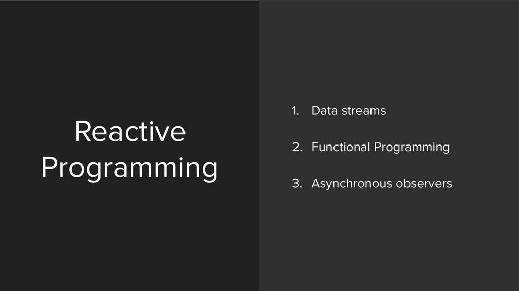 Reactive Programming 1. Data streams 2. Functi...