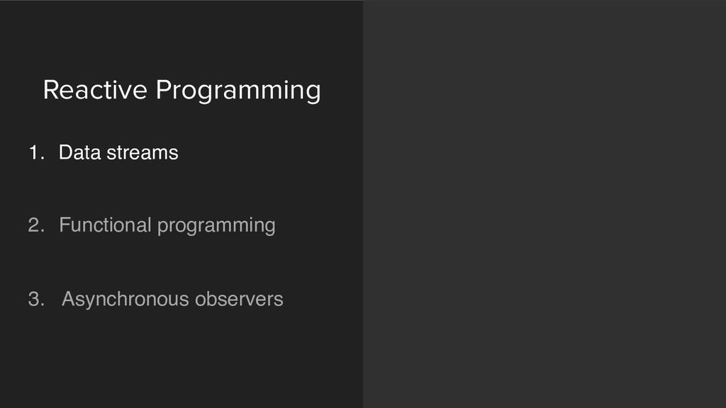 Reactive Programming 1. Data streams  2. Fun...