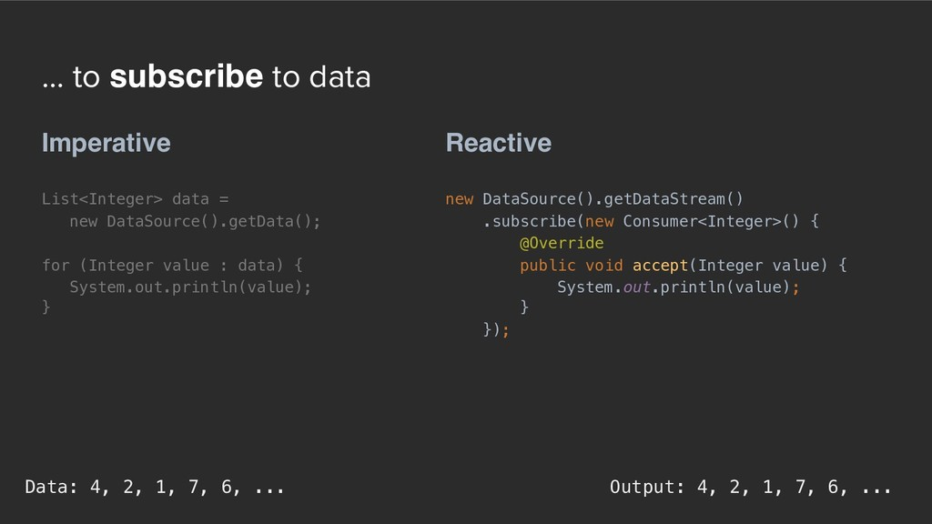... to subscribe to data Reactive new DataSourc...