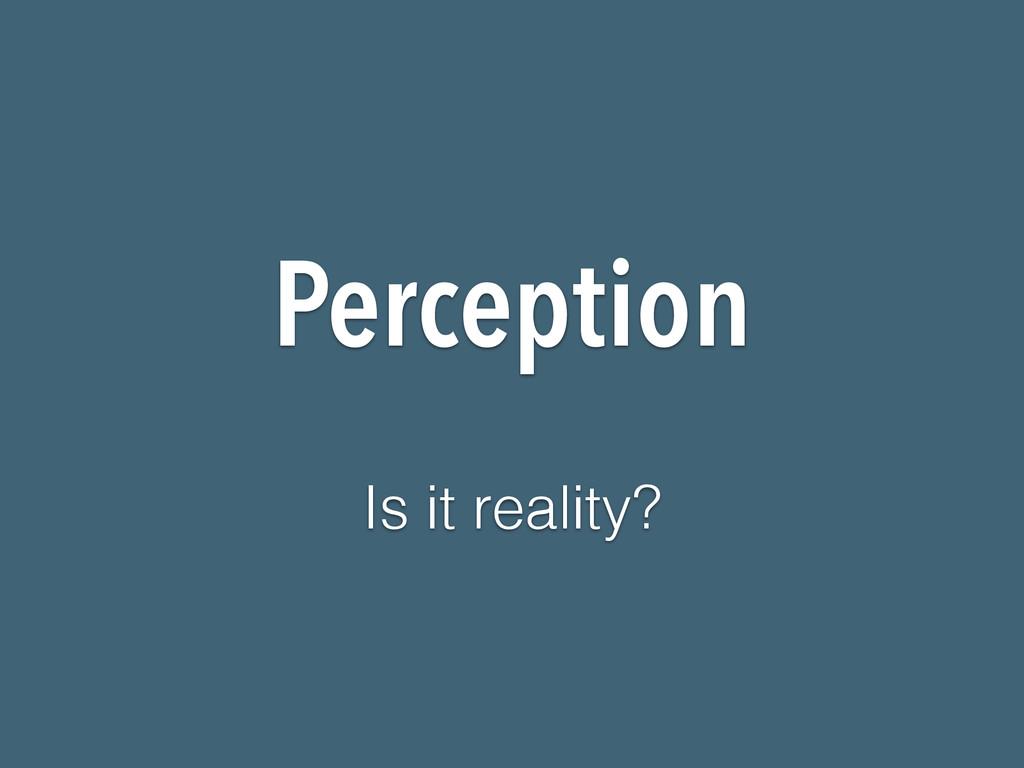 Perception Is it reality?
