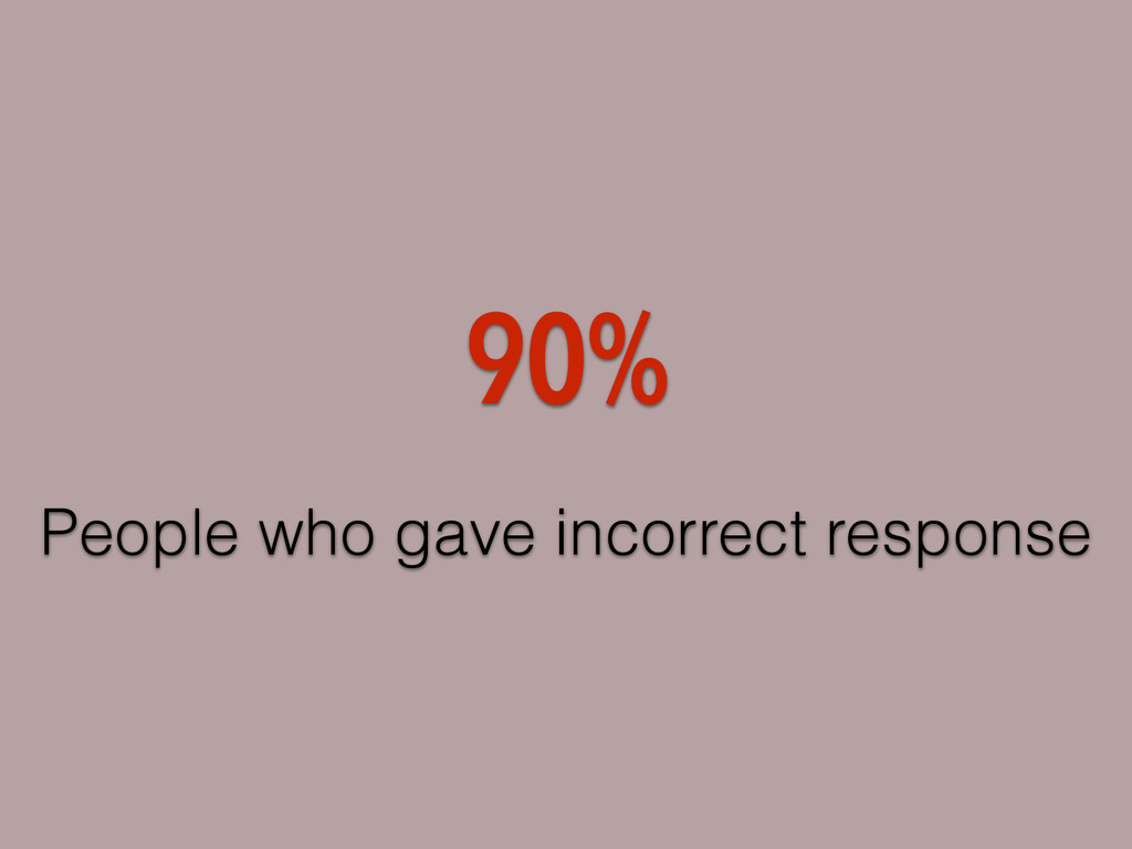 People who gave incorrect response 90%