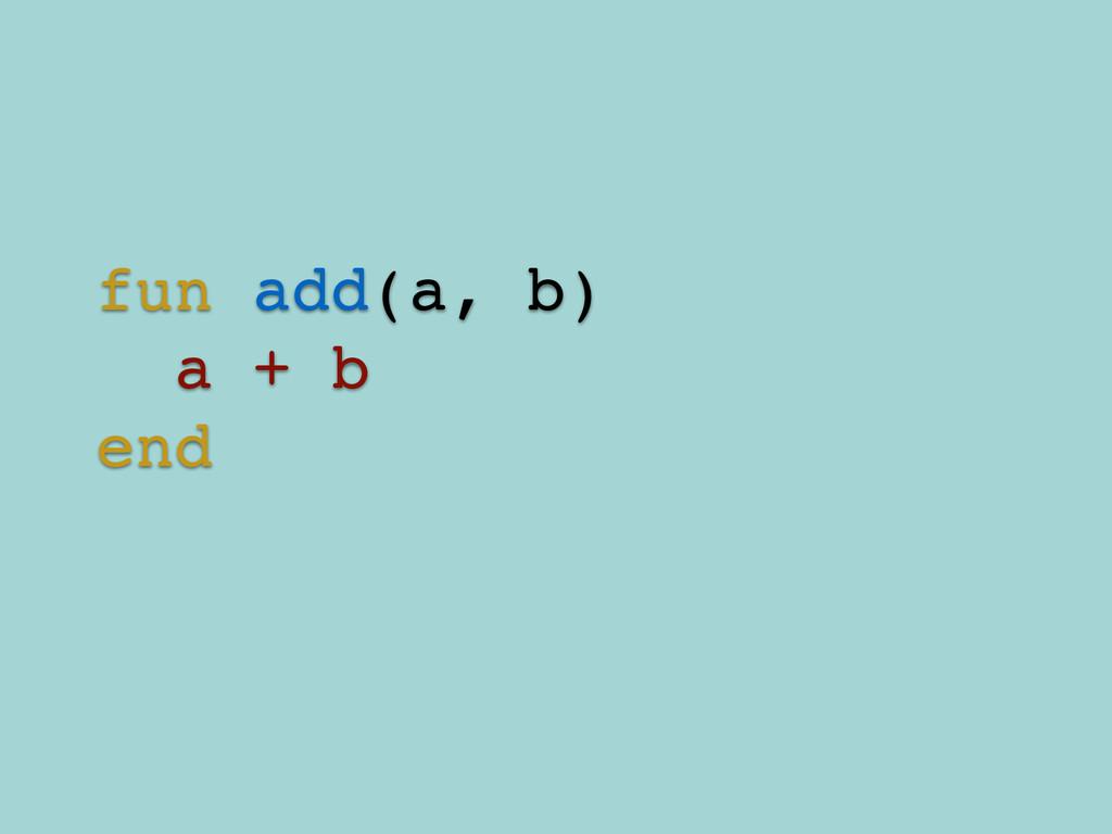 fun add(a, b)! a + b! end