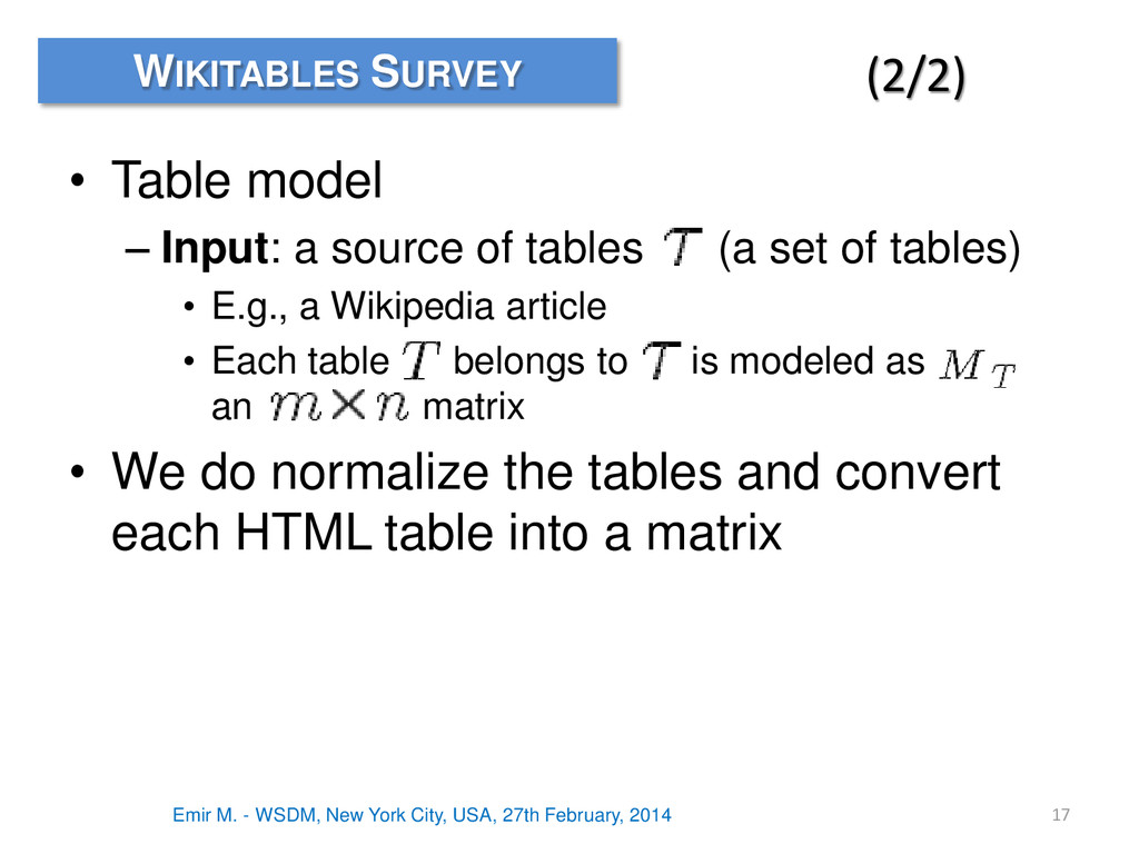 • Table model – Input: a source of tables (a se...
