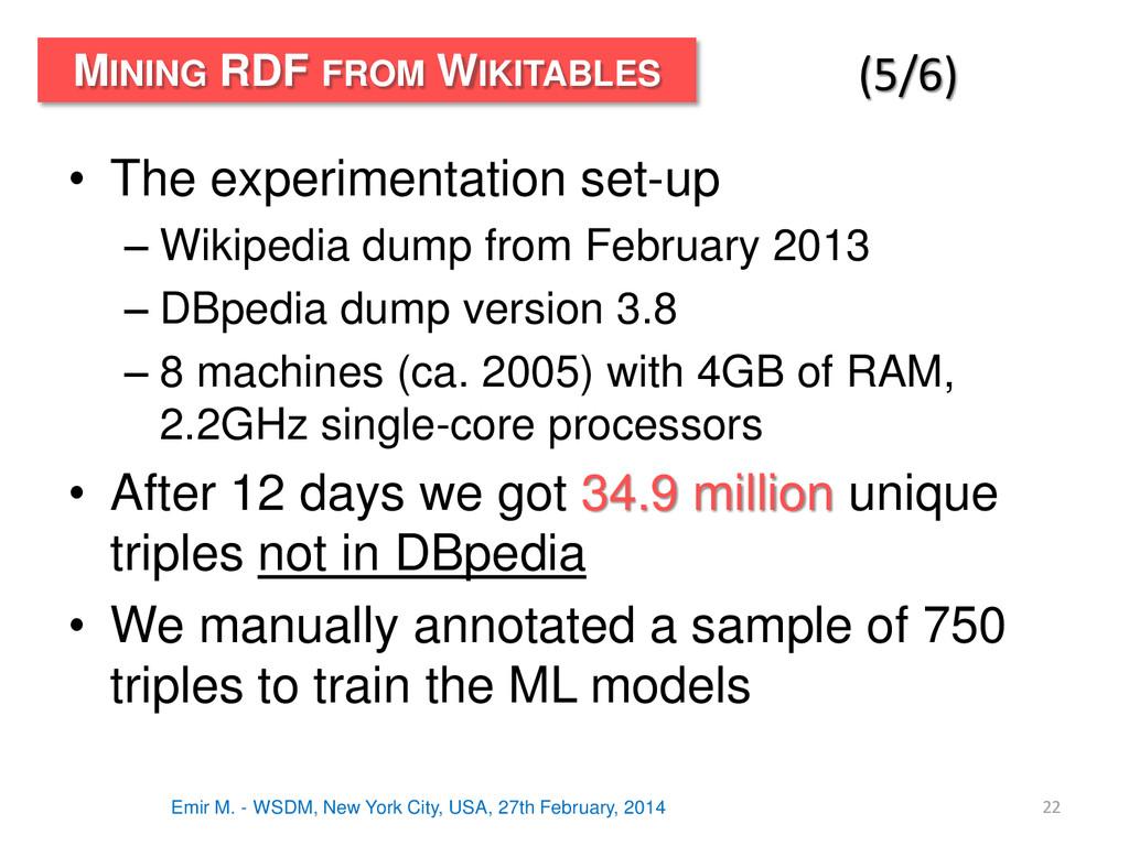 • The experimentation set-up – Wikipedia dump f...