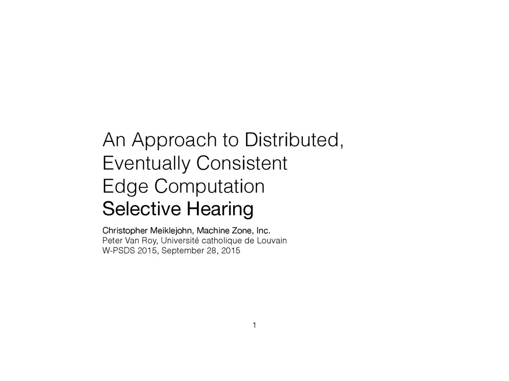 An Approach to Distributed, Eventually Consiste...