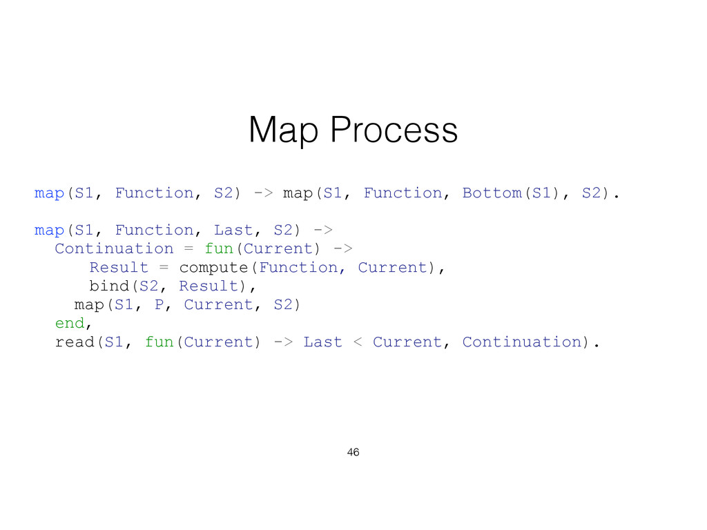46 Map Process map(S1, Function, S2) -> map(S1,...