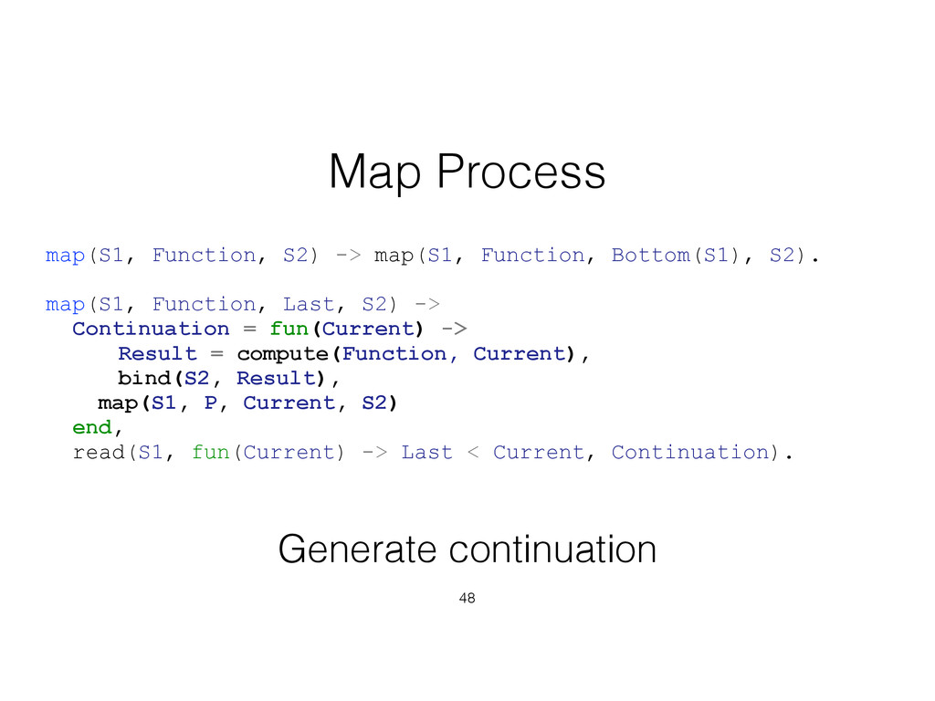 48 Map Process map(S1, Function, S2) -> map(S1,...