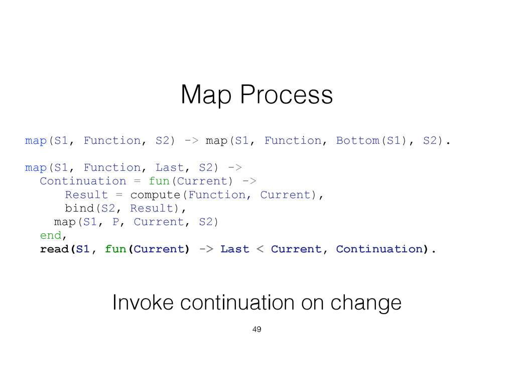 49 Map Process map(S1, Function, S2) -> map(S1,...