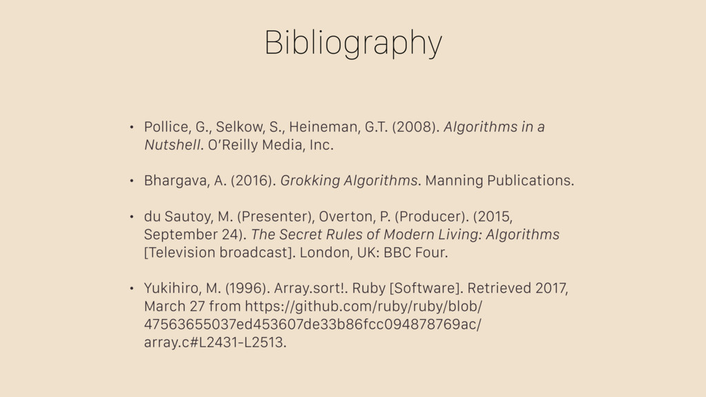 Bibliography • Pollice, G., Selkow, S., Heinema...