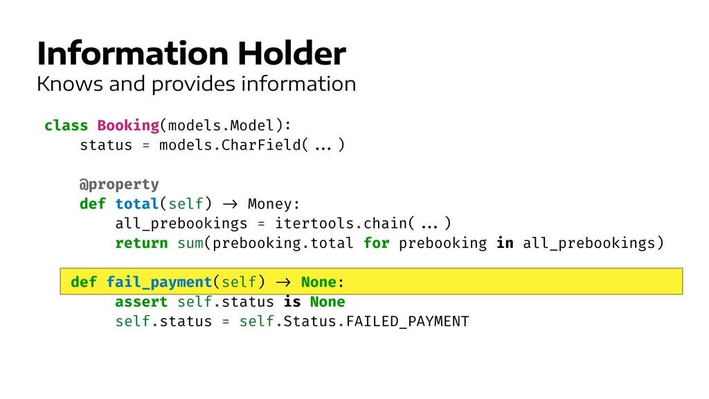 Information Holder class Booking(models.Model) ...