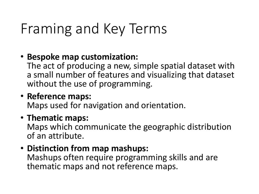 Framing and Key Terms • Bespoke map customizati...