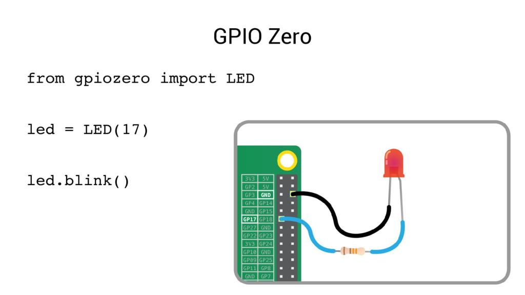 GPIO Zero from gpiozero import LED led = LED(17...