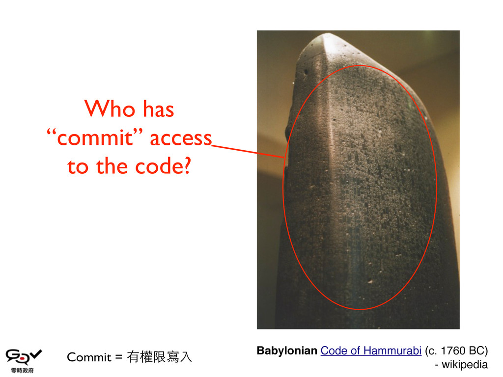 "Who has ""commit"" access to the code? Commit = 有..."