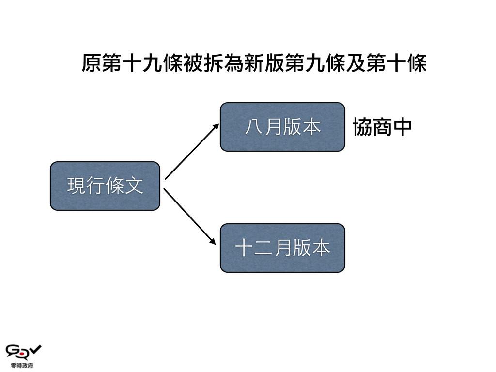 現⾏行條⽂文 ⼋八月版本 協商中 ⼗十⼆二月版本 原第十九條被拆為新版第九條及第十條