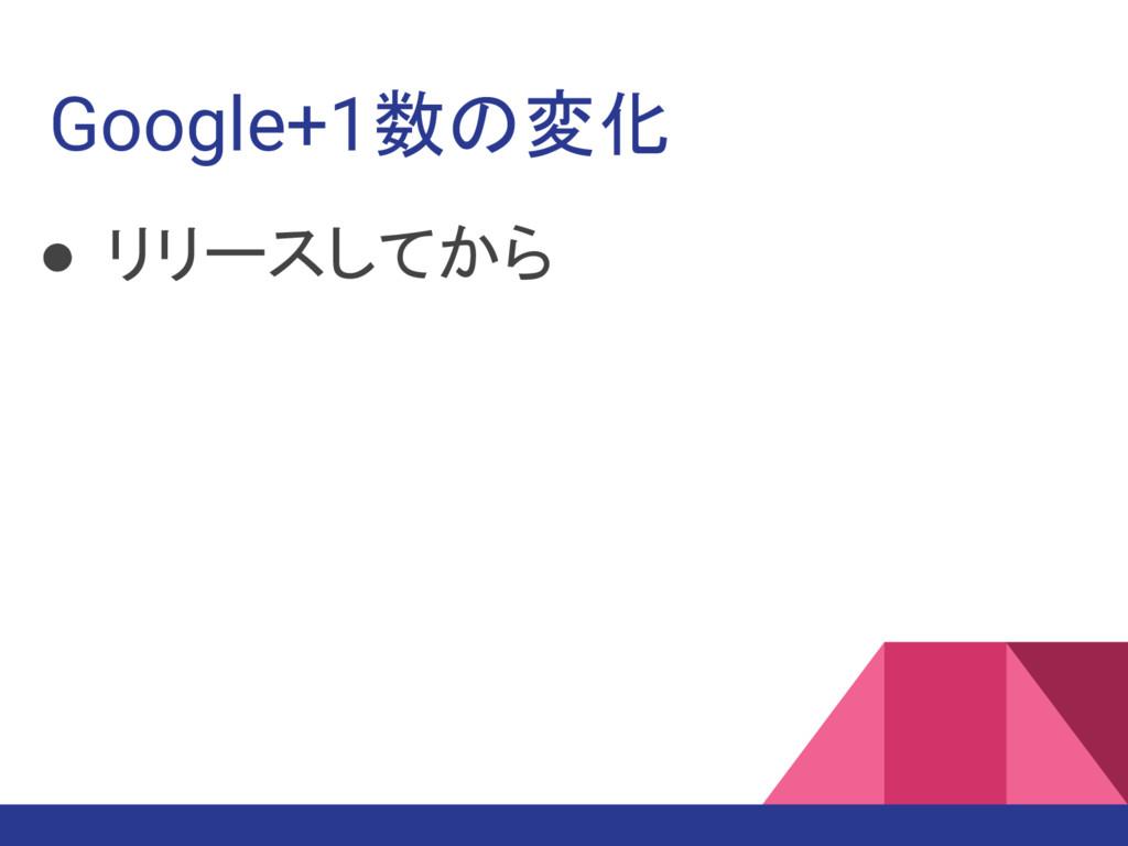 Google+1数の変化 ● リリースしてから