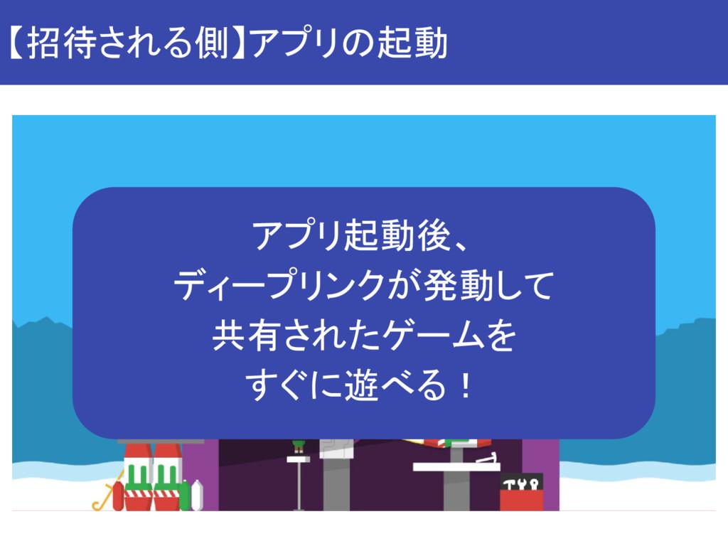【招待される側】アプリの起動 アプリ起動後、 ディープリンクが発動して 共有されたゲームを す...
