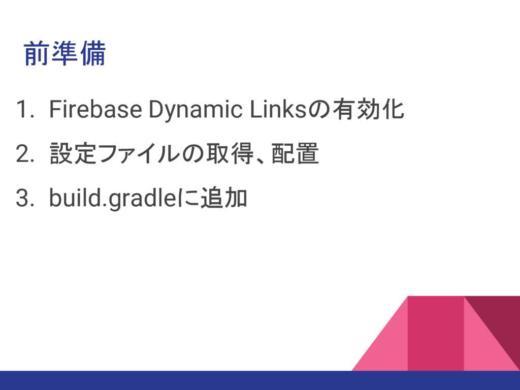 前準備 1. Firebase Dynamic Linksの有効化 2. 設定ファイルの取得、...