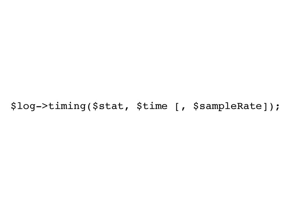 $log->timing($stat, $time [, $sampleRate]);!