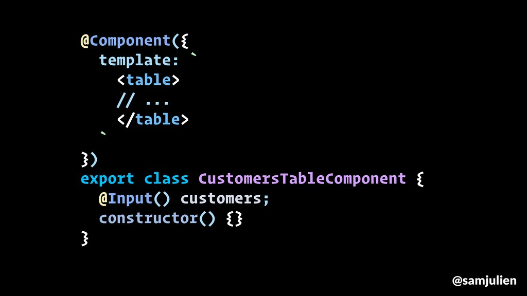 @Component({ template: ` <table> // ... </table...