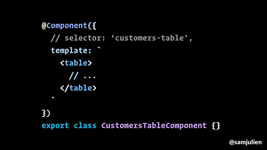 @samjulien @Component({ // selector: 'customers...