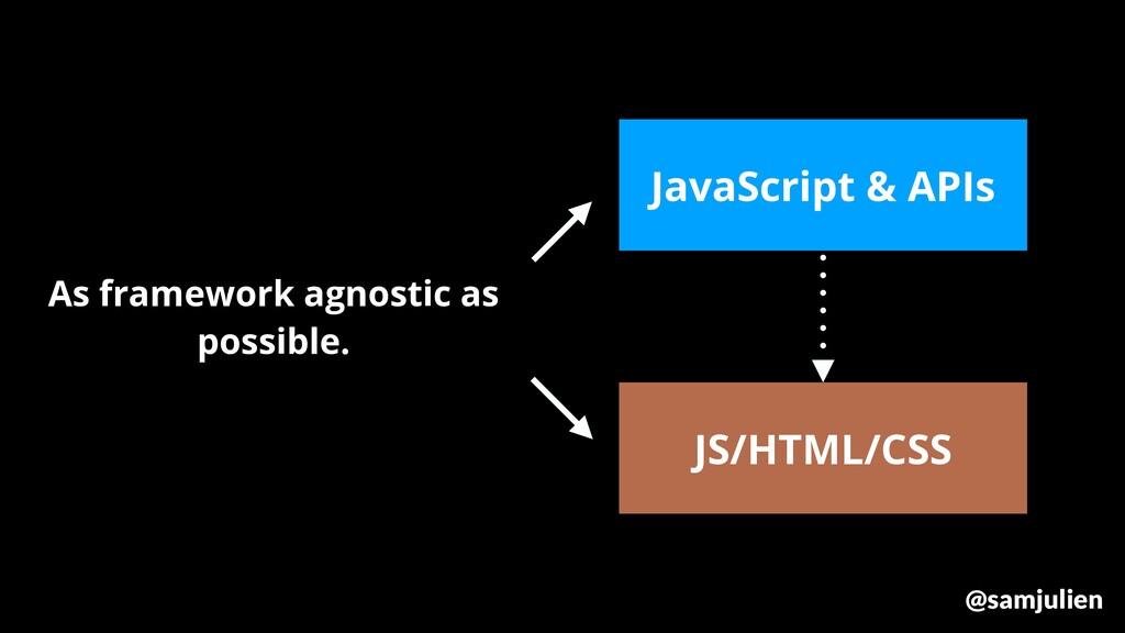 JS/HTML/CSS JavaScript & APIs As framework agno...