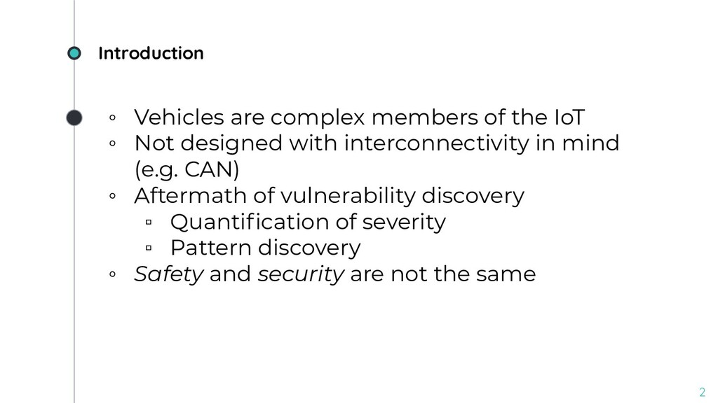Introduction ◦ Vehicles are complex members of ...