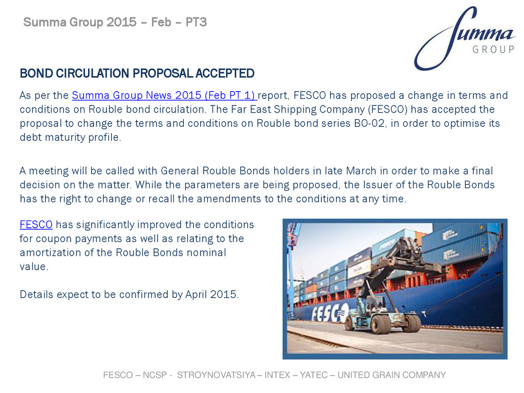 BOND CIRCULATION PROPOSAL ACCEPTED As per the S...