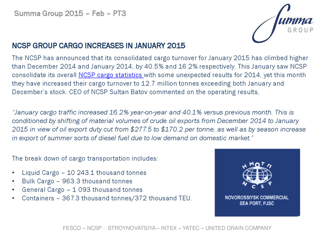 NCSP GROUP CARGO INCREASES IN JANUARY 2015 The ...