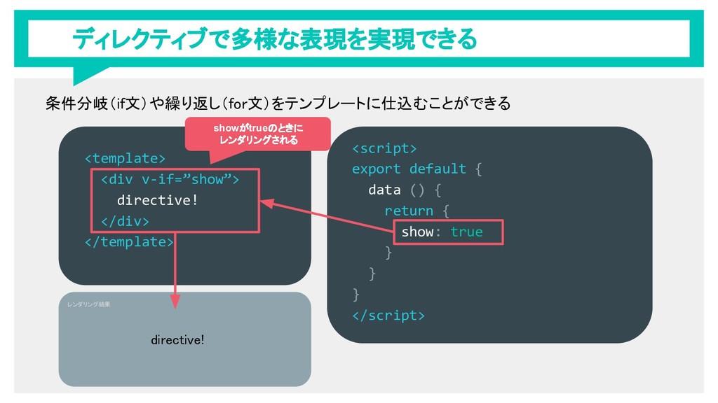 """ディレクティブで多様な表現を実現できる <template> <div v-if=""""show""""..."""