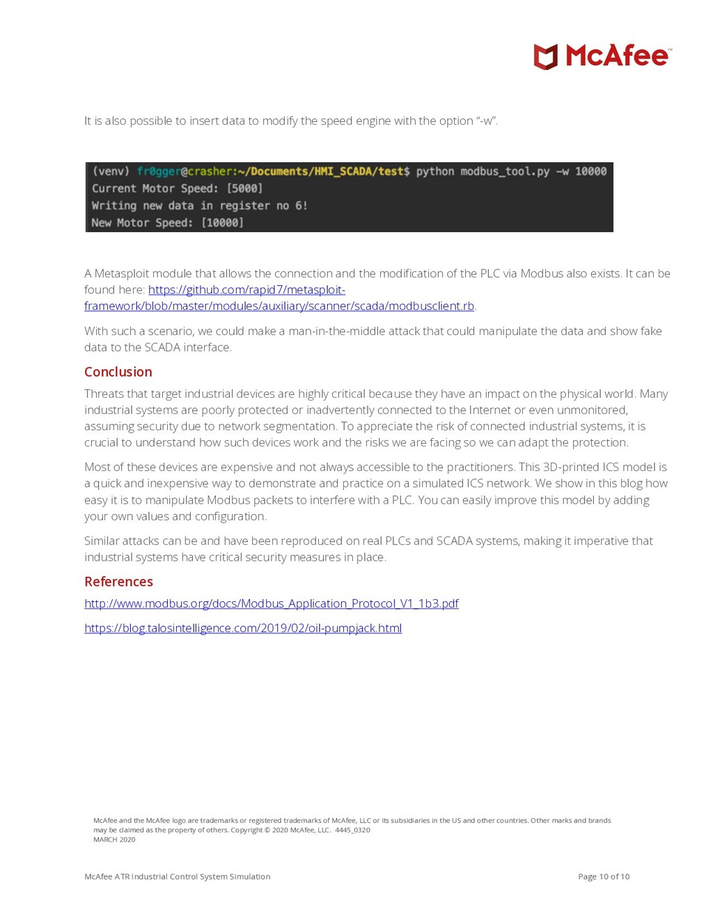 McAfee ATR Industrial Control System Simulation...