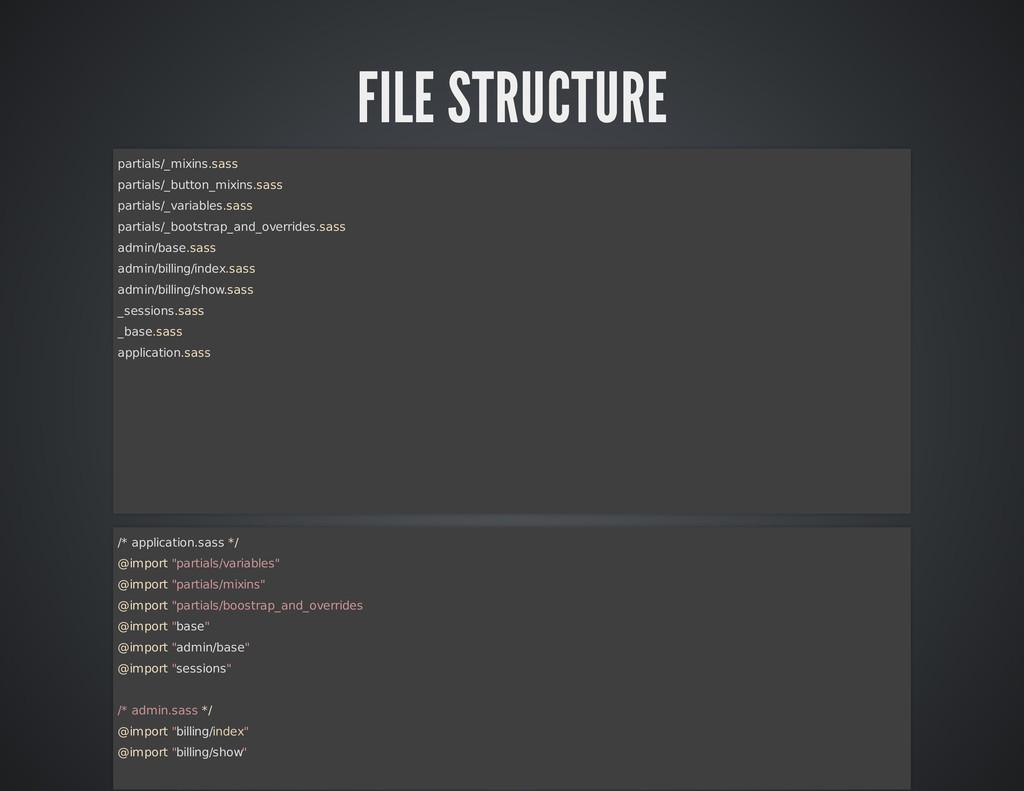 FILE STRUCTURE partials/_mixins.sass partials/_...