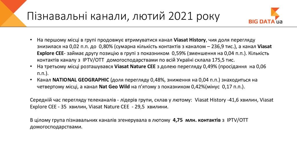 Пізнавальні канали, лютий 2021 року • На першом...