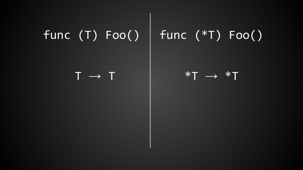 func (T) Foo() func (*T) Foo() T → T *T → *T
