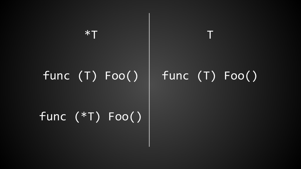*T T func (T) Foo() func (T) Foo() func (*T) Fo...