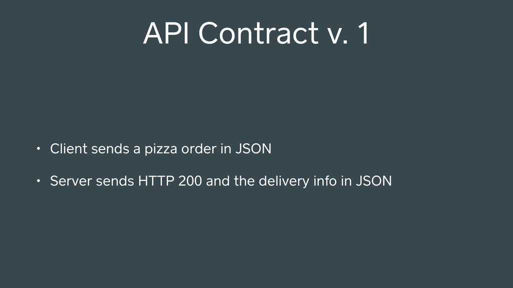 API Contract v. 1 • Client sends a pizza order ...