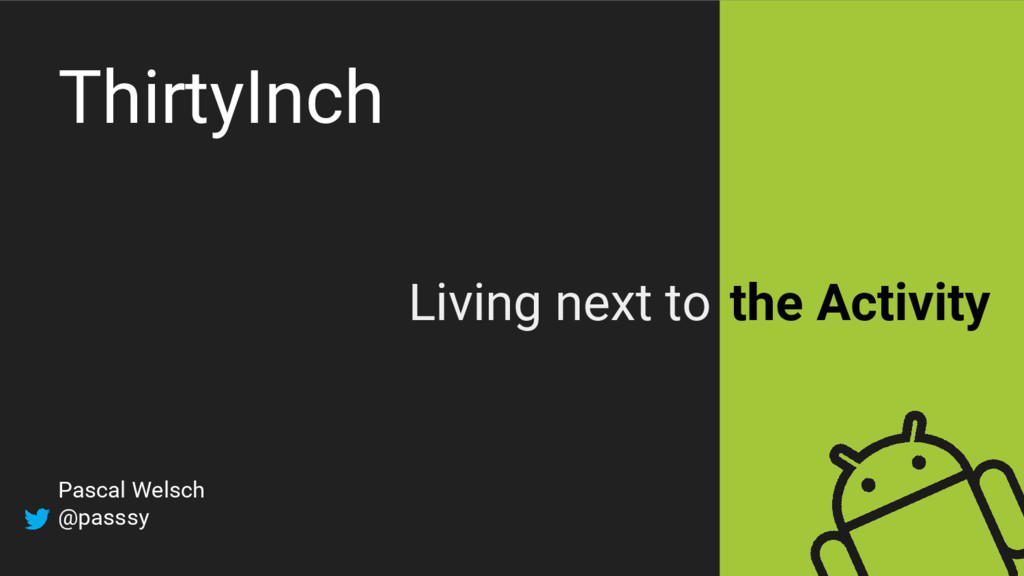 ThirtyInch Living next to the Activity Pascal W...