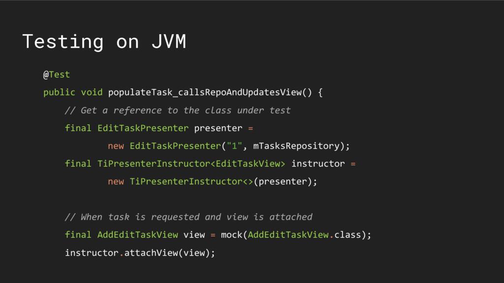 Testing on JVM @Test public void populateTask_c...