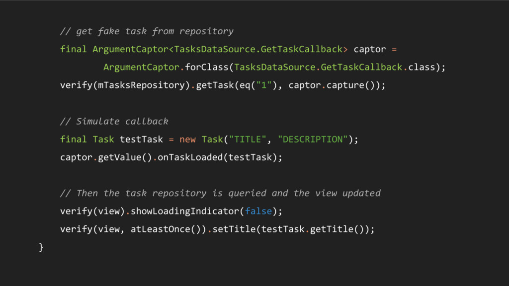 // get fake task from repository final Argument...