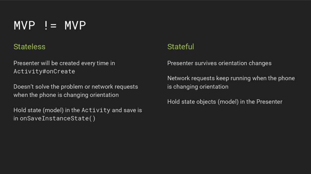 MVP != MVP Stateless Presenter will be created ...