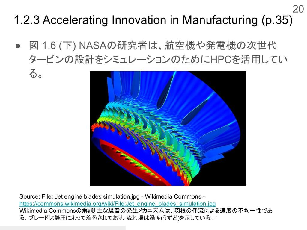 ● 図 1.6 (下) NASAの研究者は、航空機や発電機の次世代 タービンの設計をシミュレー...